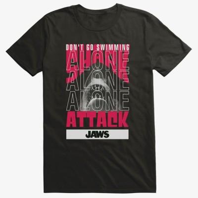 ジョーズ Tシャツ Jaws ジョウズ 海外映画 Movie  Swimming Alone Stack T-Shirt メンズ