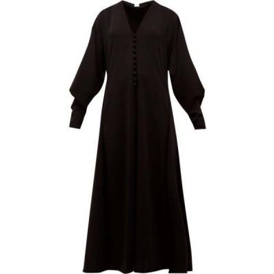 ヒリヤーバートリー Hillier Bartley レディース ワンピース Vネック ワンピース・ドレス V-neck buttoned crepe dress Black