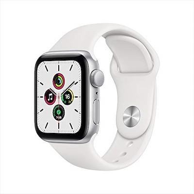最新モデル Apple Watch SE(GPSモデル)- 40mmシルバーアルミニウムケースとホワ
