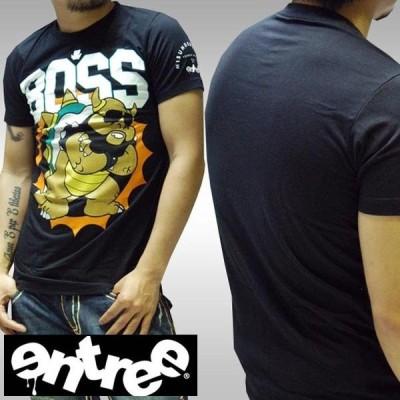 【20%OFF】 ENTREE エントリー メンズ 半袖 Tシャツ BOSS ブラック ストリート ファッション HIPHOP ブランド ヒップホップ ダンス ウェアー B系 スタイル