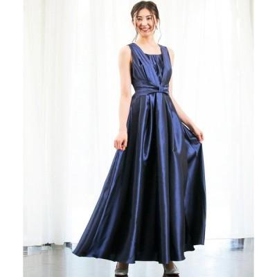 ドレス シャンタン ロングフレアドレス