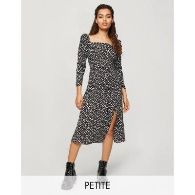 ミスセルフリッジ ミディドレス レディース Miss Selfridge Petite midi dress with square neck in mono heart print エイソス ASOS ブラック 黒