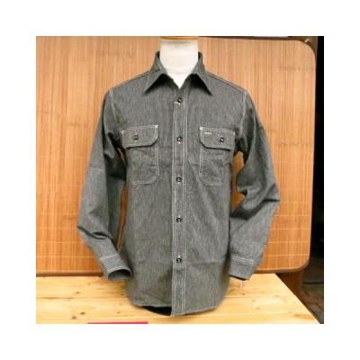 Sugar cane シュガーケーン 日本製 ジーンコードストライプ 長袖ワークシャツ SC25511-119/BLACK