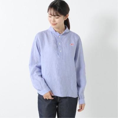 丸襟プルオーバーリネンシャツ サックスブルー 36 38