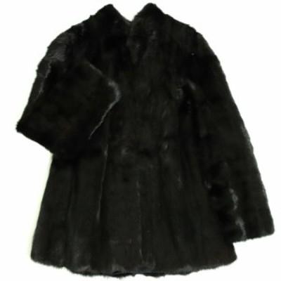 美品▼2 MINK ミンク 本毛皮コート ダークブラウン(ブラックに近い) 毛質艶やか・柔らか◎