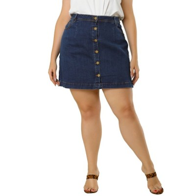 uxcell Agnes Orinda ジーンズ aラインスカート プラスサイズ デニムスカート ミニ ボタンレディース ブルー XL
