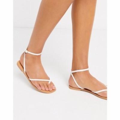 エイソス ASOS DESIGN レディース サンダル・ミュール フラット シューズ・靴 Farnborough minimal toe loop flat sandals in white ホワ