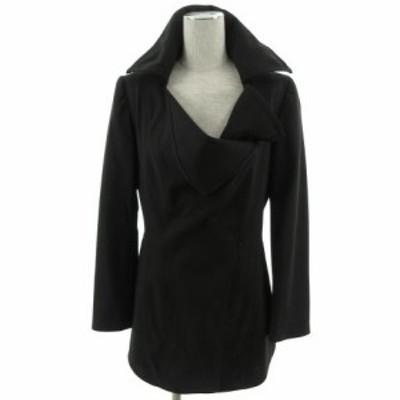 【中古】リツコ シラハマ RITSUKO SHIRAHAMA ジャケット 長袖 デザイン シルク混 ブラック 黒 1 レディース