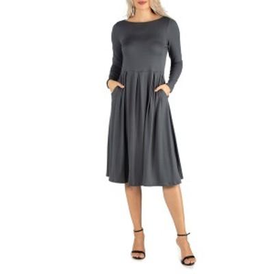24セブンコンフォート レディース ワンピース トップス Women's Midi Length Fit and Flare Dress Gray
