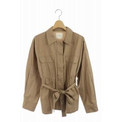 【中古】レイカズン Ray cassin ステンカラージャケット シャツ 胸ポケット リボン F 茶 /MN ■OS レディース