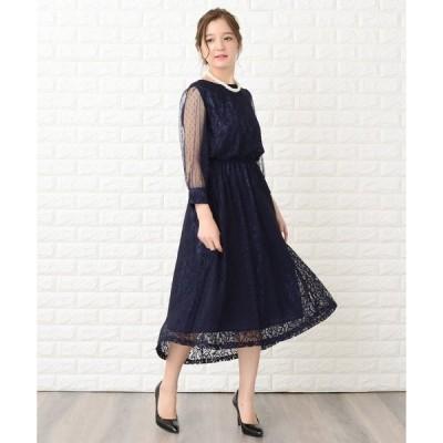 ドレス ドットチュール袖×花柄総レースフィッシュテールフォーマルワンピース・ドレス