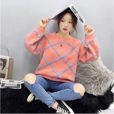 秋冬新作 ファッション 人気セーター オレンジ ライトブルー ダークブルー3色展開