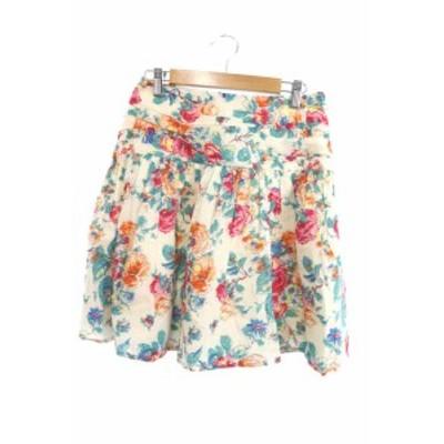 【中古】パンソー Pinceau スカート ひざ丈 ギャザー ドレープ 花柄 36 白 ホワイト /M2N4 レディース