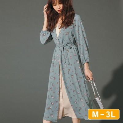 Ranan 【M~3L】花柄レイヤード風ワンピース ブラック M レディース