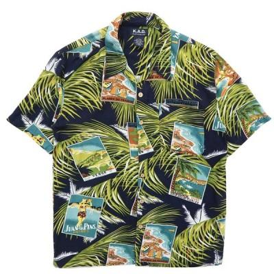 古着 アロハシャツ ハワイアンシャツ 総柄 リーフ ブラックベース サイズ表記:L