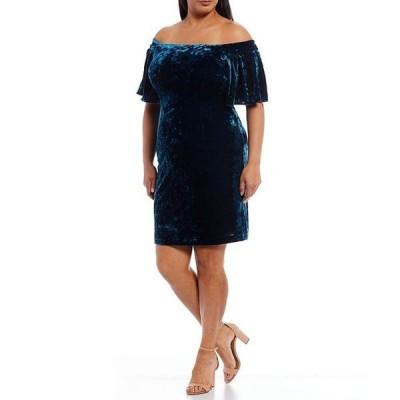 エリザジェイ レディース ワンピース トップス Plus Size Flutter Sleeve Off the Shoulder Velvet Sheath Dress