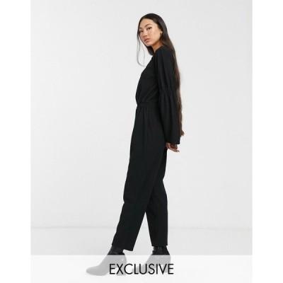 アナザー リーズン レディース ワンピース トップス Another Reason relaxed jumpsuit with open back and ruched detail Black