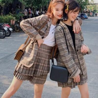 レディース セットアップ チェック柄 スカート ツーピース ジャケット おしゃれ 通学 デート