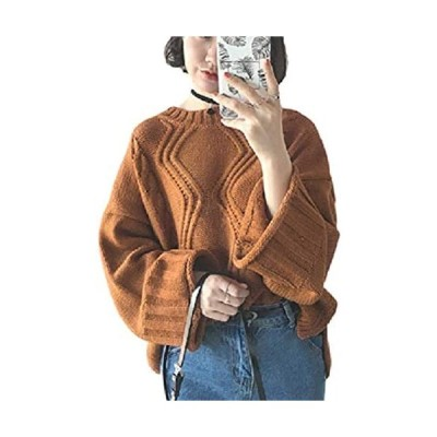 [1/2style(ニブンノイチスタイル)] 大きめ 無地 きれいめ ケーブル 編み ニット セーター (ブラウン Free Size)