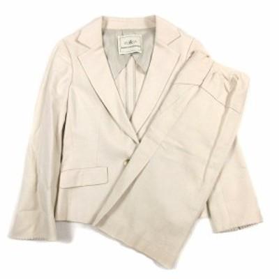【中古】グレースコンチネンタル 鹿の子調 スーツ セットアップ シングル 1B ジャケット ハーフ丈 スカート 36/38