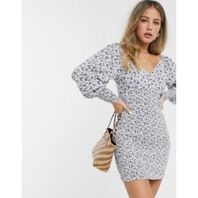 エイソス レディース ワンピース トップス ASOS DESIGN shirred mini dress with long sleeves in ditsy floral print White based flora
