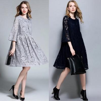 パーティードレス レディース M〜6L結婚式 お呼ばれ 二次会 ワンピース ドレス パーティドレス 服 体型カバー 大きいサイズ 30代 40代 大人女子 総レース