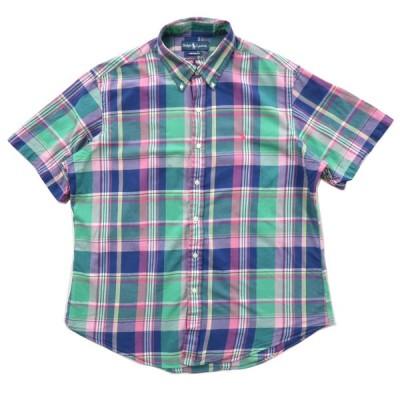 ポロラルフローレン マドラスチェック ボタンダウンシャツ 半袖 サイズ表記:--