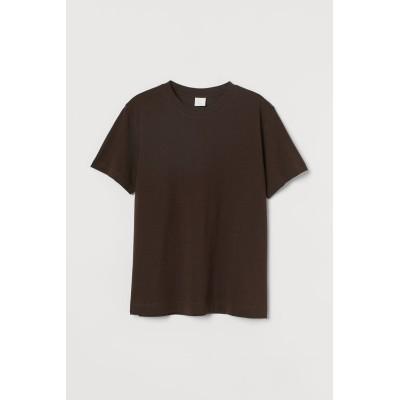 H&M - コットンTシャツ - ブラウン