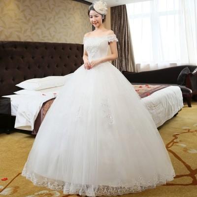 ウエディングドレス  バニエ付き 花嫁  結婚式 披露宴 二次会 パーティードレス Aラインタイプ 姫系トレス XS-XXL