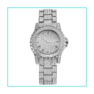 Silver Iced Out Watch for Men Rhinestone Bling Dial Crystal Bracelet Bangle Quartz Dress Wrist Watch with Stainless Steel Band for Halloween