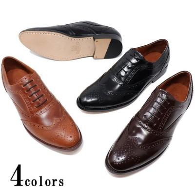 ハンドメイド 本革 メンズ レザーソール ウイングチップ フルブローグ ダービーマッケイ製法 革靴 革底 ブラック ダークブラウン ライトブラウン 紳士靴