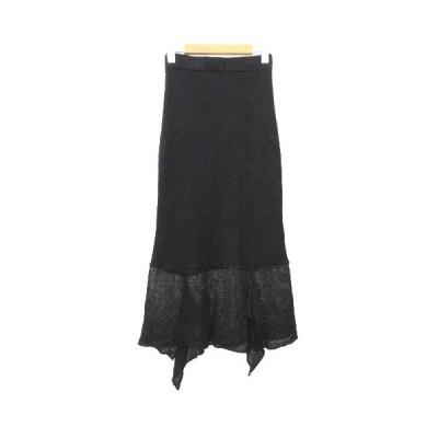 【中古】未使用品 トゥデイフル TODAYFUL 19SS Linen Knit SK ロング スカート ニット リネン フリル 36 Sサイズ 黒 ブラック S レディース 【ベクトル 古着】