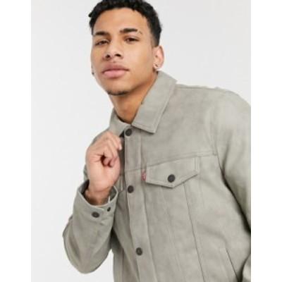 リーバイス メンズ ジャケット・ブルゾン アウター Levi's faux suede classic trucker jacket with chambray lining in light gray Grey