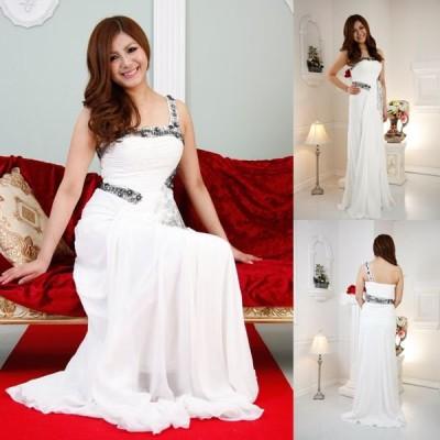 レース付きシフォンエンパイアドレス ホワイト 結婚式 ドレス パーティードレス お呼ばれドレス カラードレス