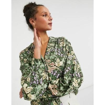 モンキ レディース シャツ トップス Monki Natalie blouse in leaf print Leafy green