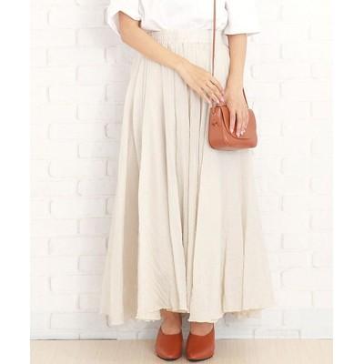 【アミュレット】 韓国ファッションレディースマキシスカートさらふわボトムス涼しい麻綿混合 レディース ベージュ F Amulet