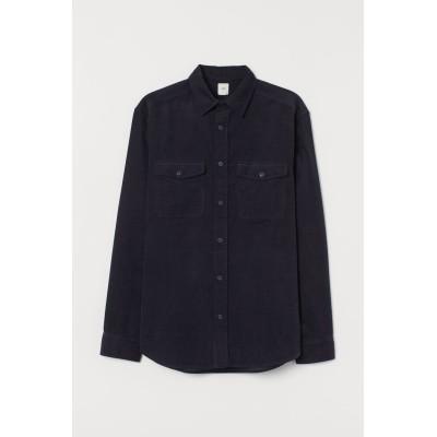 H&M - レギュラーフィット コーデュロイシャツ - ブルー