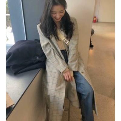 チェック柄 チェスターコート ロングコート アウター ゆったり レトロ カジュアル 通勤 韓国 オルチャン ファッション