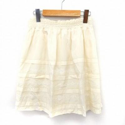 【中古】ストロベリーフィールズ STRAWBERRY-FIELDS スカート フレア 膝丈 刺繍 ウエストゴム 2 ホワイト /ST43 レディース 【ベクトル 古着】