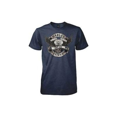 ハーレーダビッドソン? Tシャツ トップス ウエア Harley-Davidson メンズ ブルー スチール Winged V-Twin 半袖 Tシャツ Midnight ネイビー