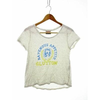 【中古】ルージュヴィフ Rouge vif Tシャツ カットソー 半袖 総柄 グレー /MO レディース 【ベクトル 古着】