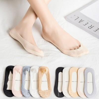 6足セットアイスシルク女性靴下超薄型夏浅口婦人靴下純綿シリコンボトム滑り止め見えない靴下快適