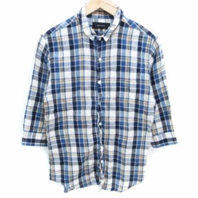 【中古】シップスジェットブルー シャツ カジュアル 七分袖 チェック柄 マルチカラー リネン混 M 青 白 /FF39 メンズ