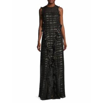 ショーシャンナ レディース ワンピース Backless Ruffled Metallic Chiffon Gown