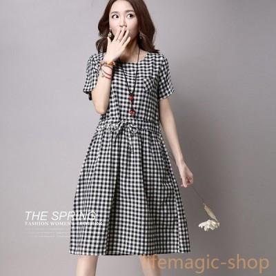 ワンピース 黒と白のチェック柄のドレス 2017韓国 ウエスト 薄い長袖 コットンドレス