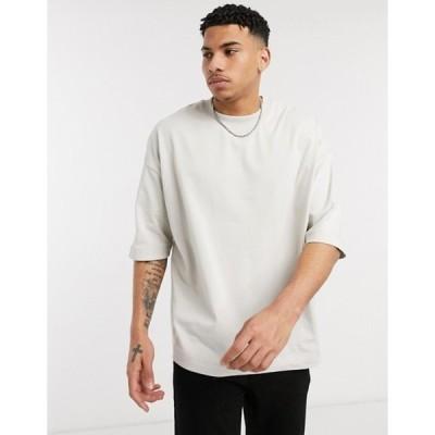 エイソス メンズ シャツ トップス ASOS DESIGN oversized heayweight t-shirt with half sleeve and chunky neck in beige
