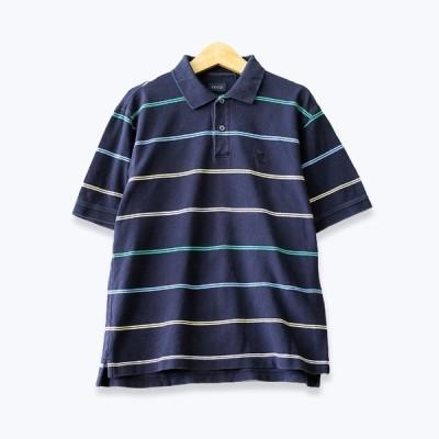 アイゾッド IZOD 2ボタン ボーダー柄 半袖ポロシャツ メンズ Mサイズ ネイビー ユーズド 古着 t190723-12