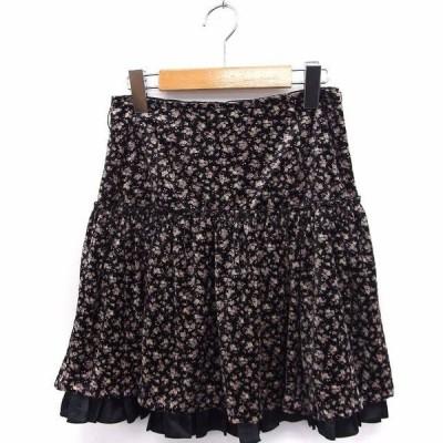 【中古】レストローズ L'EST ROSE スカート 花柄 フリル フレア ミニ ベロア 2 ブラック 黒 /FT8 レディース 【ベクトル 古着】