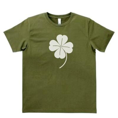 おもしろ パロディ バカ Tシャツ 幸運の四つ葉のクローバー カーキー MLサイズ