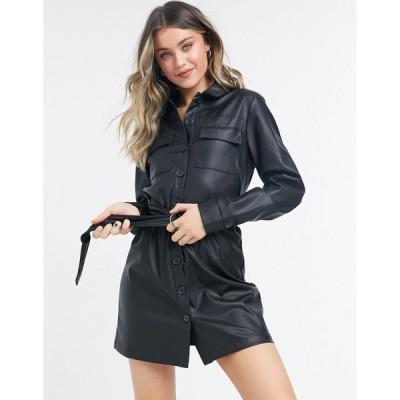 ネイキッド ミニドレス レディース NA-KD belted faux leather mini dress in black エイソス ASOS ブラック 黒
